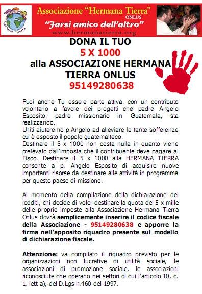 dona il 5xmille per Hermana Tierra Onlus, Associazione di volontari laici e cristiani operante in Guatemala