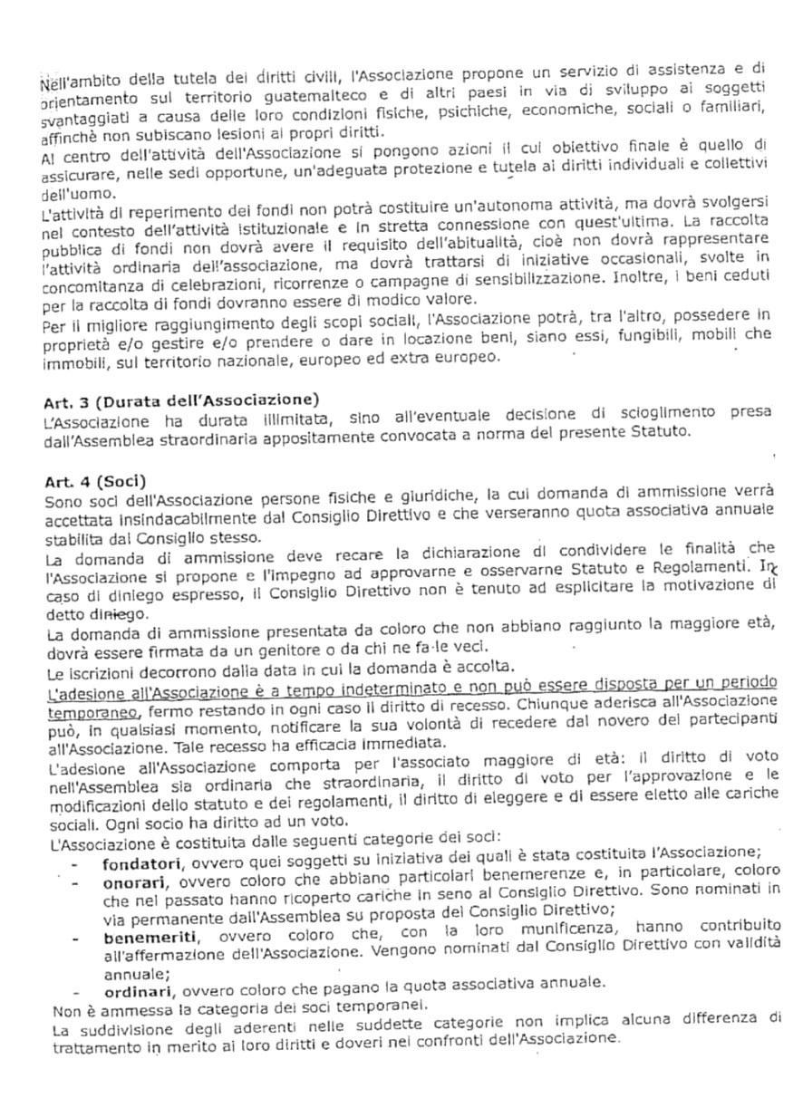 statuto Hermana Tierra Onlus, Associazione di volontari laici e cristiani operante in Guatemala
